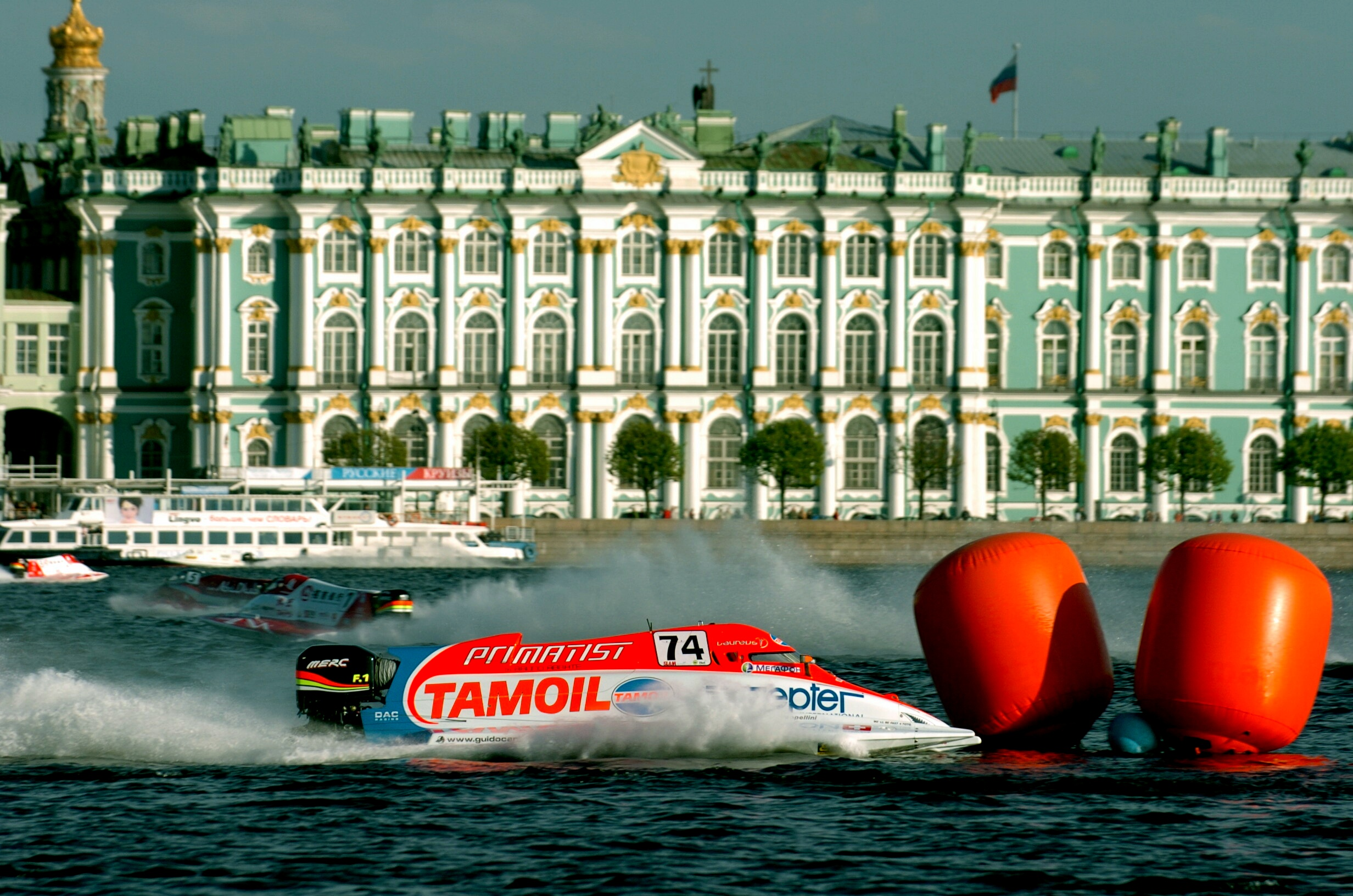 St Peterburg - Russia - 13 June, 2008 - First  free practice for the Russian Grand Prix on Neva River in St Peterburg. In this photo Guido Cappellini of Team Tamoil. This GP is the 4th leg of the UIM F1 Powerboat World Championship 2008. Picture by Vittorio Ubertone/Idea Marketing.