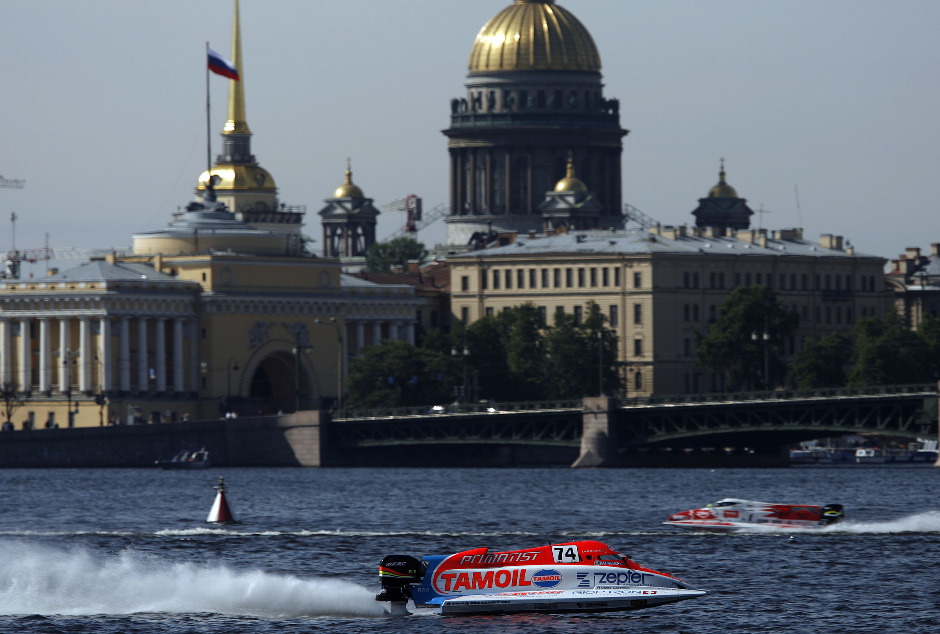 GP OF ST PETERSBURG-140608-PL-Guido Cappellini of Italy of the Tamoil F1 powerboat team pictured during the time trials on the Neva River in St Petersburg, Russia, venue of the UIM F1 powerboat Grand Prix, the 4th leg of the world championship series. Picture by Paul Lakatos/Idea Marketing.