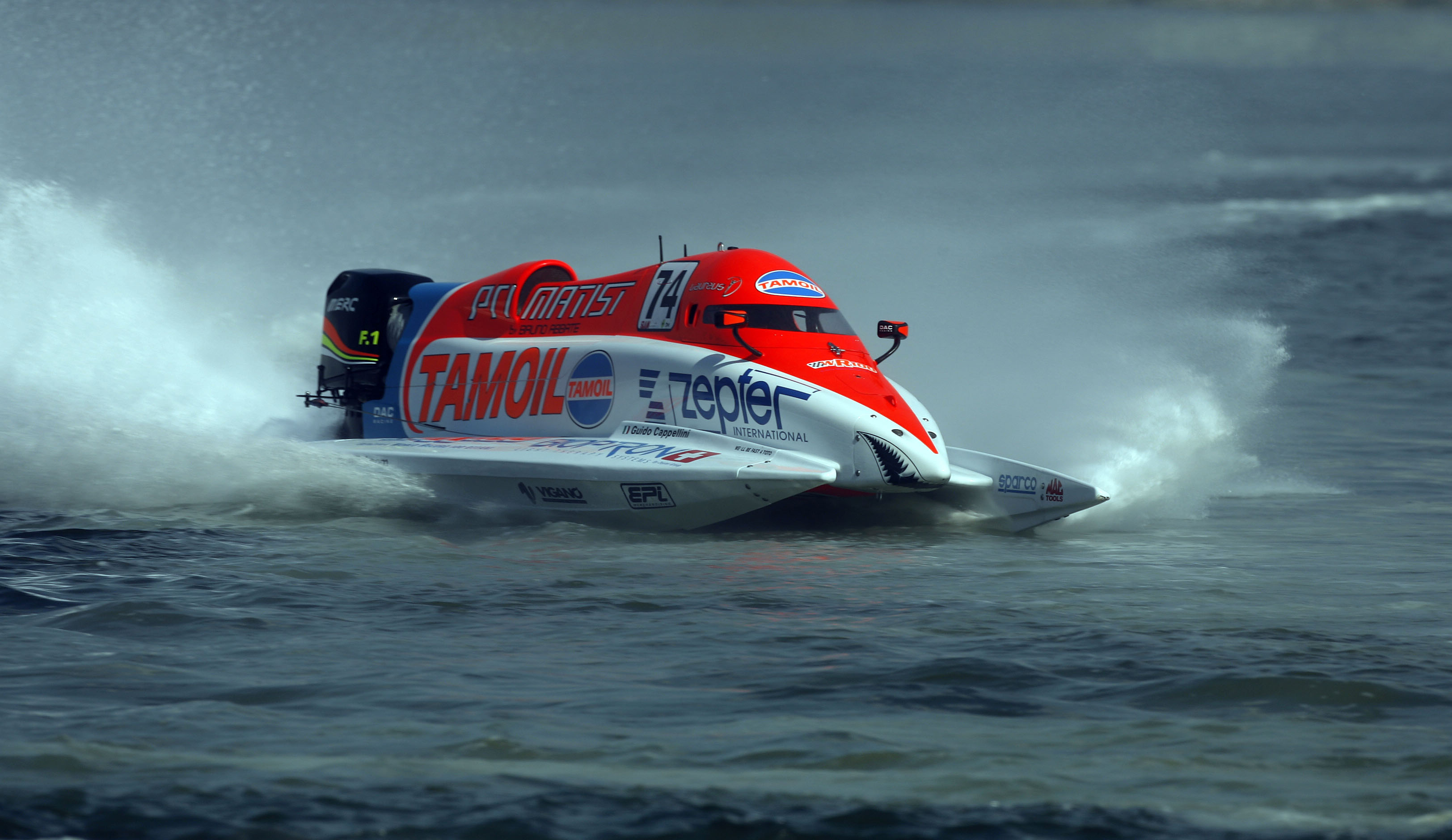 111208-GP OF SHARJAH-PL-Guido Cappellini of Italy of the Tamoil Racing team in action during the 1st time trials at the UIM F1 Powerboat Grand Prix of Sharjah,  Khalid Lagoon, UAE. Picture by Paul Lakatos/Idea Marketing.