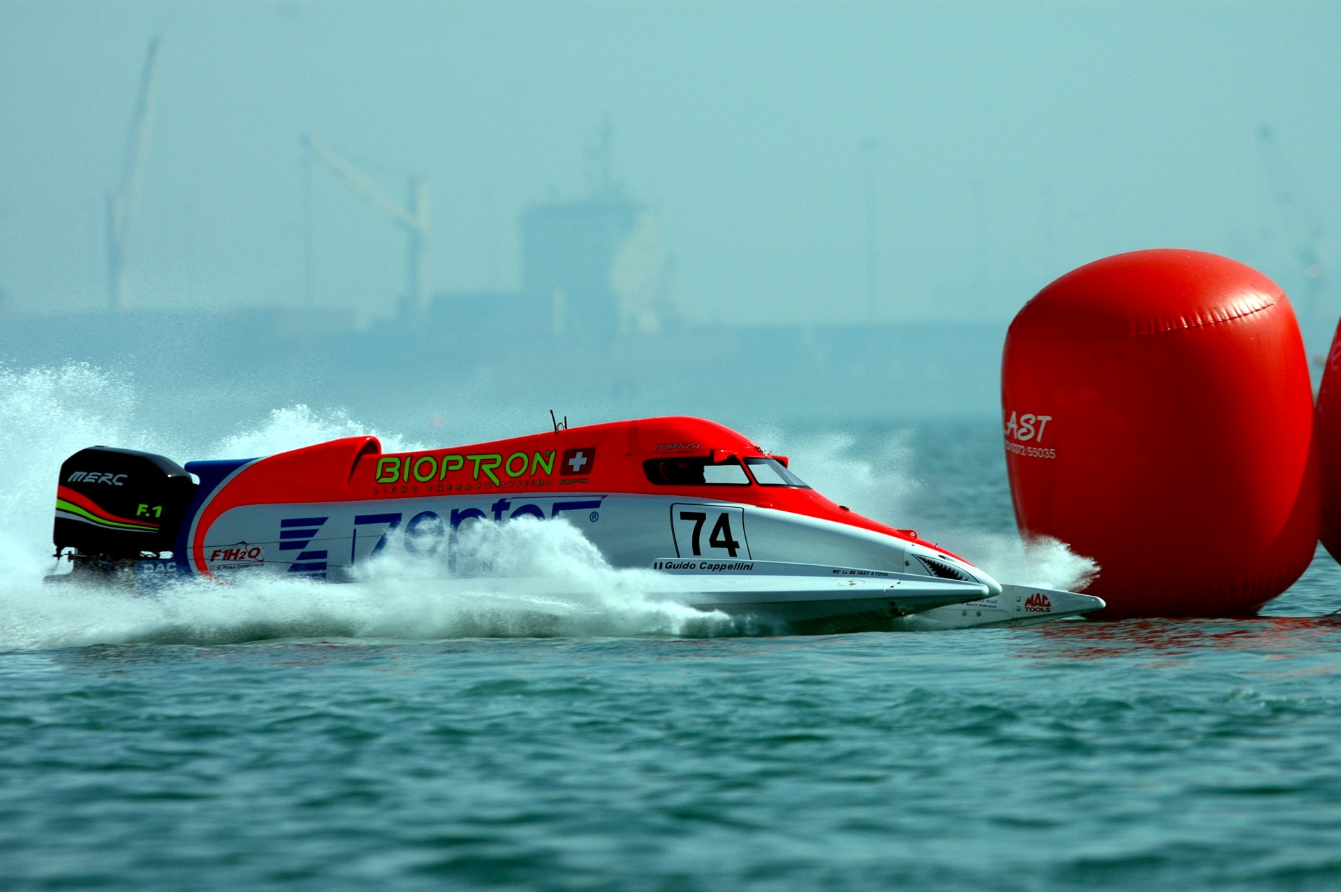 Doha-Qatar-27 November 2009-  Guido Cappellini  of Zepter Team at the official practice for the UIM F1 Powerboat Grand Prix of Qatar in Doha Bay, The Corniche. This GP is the 6th leg of the UIM F1 Powerboat World Championships 2009. Picture by Vittorio Ubertone/Idea Marketing
