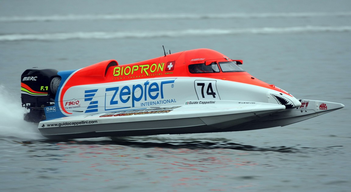 GP OF SHARJAH-111209-Guido Cappellini of Italy of the Zepter team in action for the UIM F1 Powerboat Grand Prix of Sharjah on the Khalid Lagoon, December 11, 2009.  Picture by Paul Lakatos/Idea Marketing.