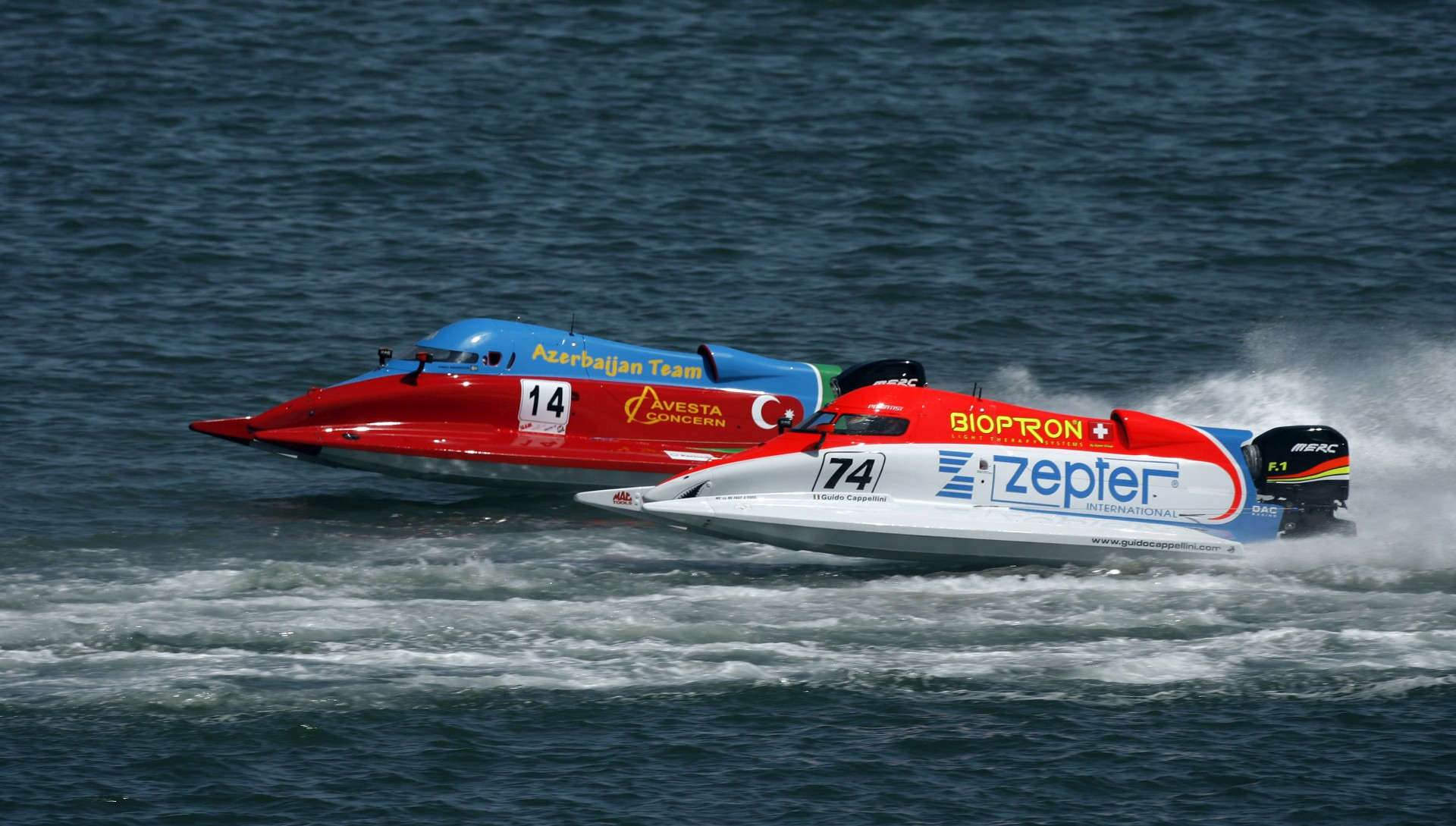 040409-PL-Guido Cappellini of Italy of the Zepter Team,(74), and Jonas Andersson of Sweden of the F1 Team Azerbaijan in action during the Grand Prix of Portugal, Portimao. The 1st race of the UIM F1 Powerboat Grand Prix season for 2009. Picture by Paul Lakatos/Idea Marketing.