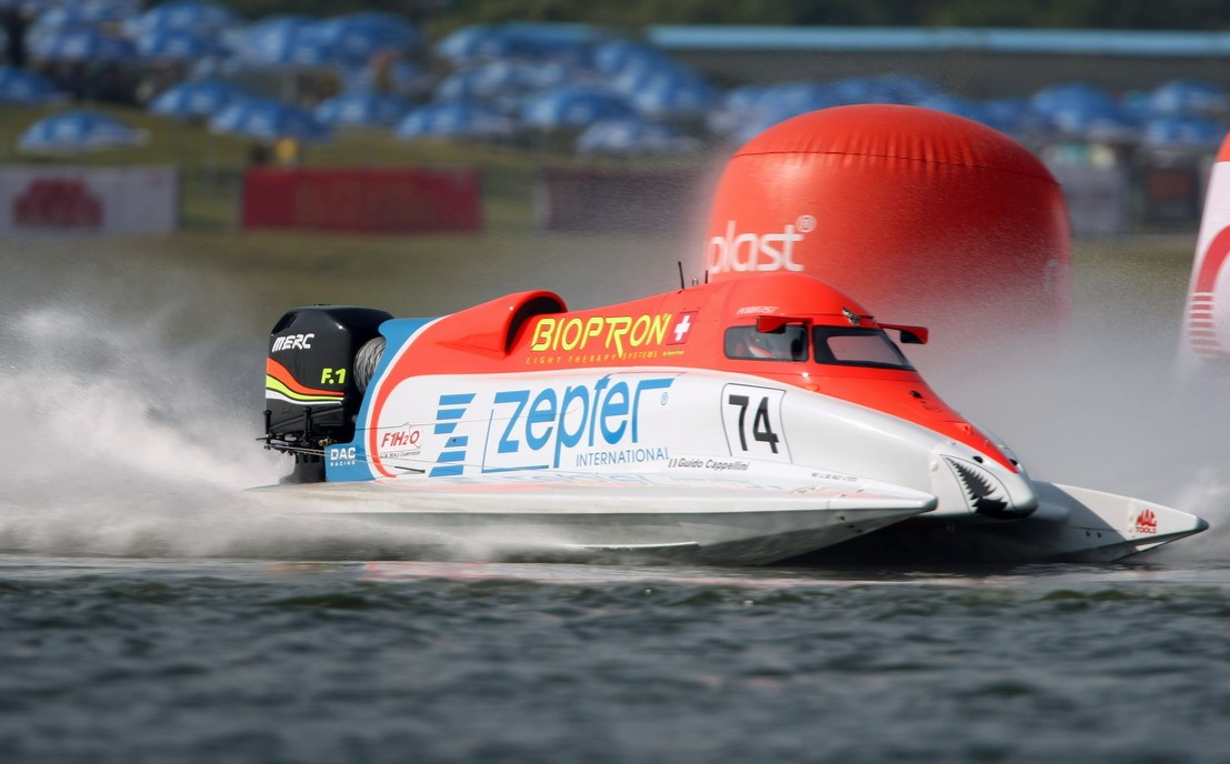 GP OF CHINA SHENZHEN-181009-Guido Cappellini of Italy of the Zepter Team during time trials for the UIM F1 Powerboat Grand Prix of China, at the Shenzhen Bay Inner Lake, Shenzhen, China. The second race in China is the 5th leg of the season, October 17-18, 2009. Picture by Paul Lakatos/Idea Marketing.